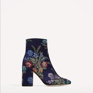 Zara embroidered detail ankle boots